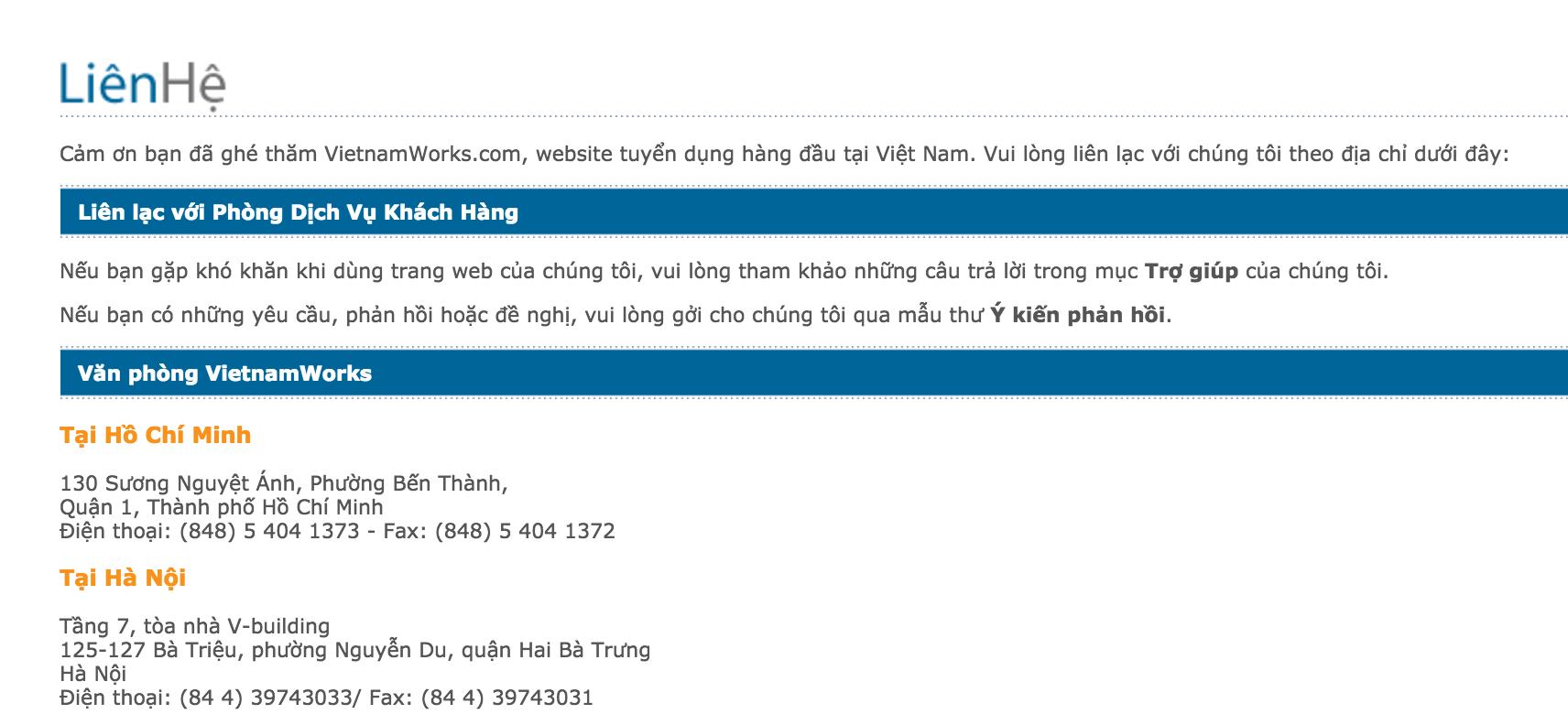 Liên hệ VietnamWorks