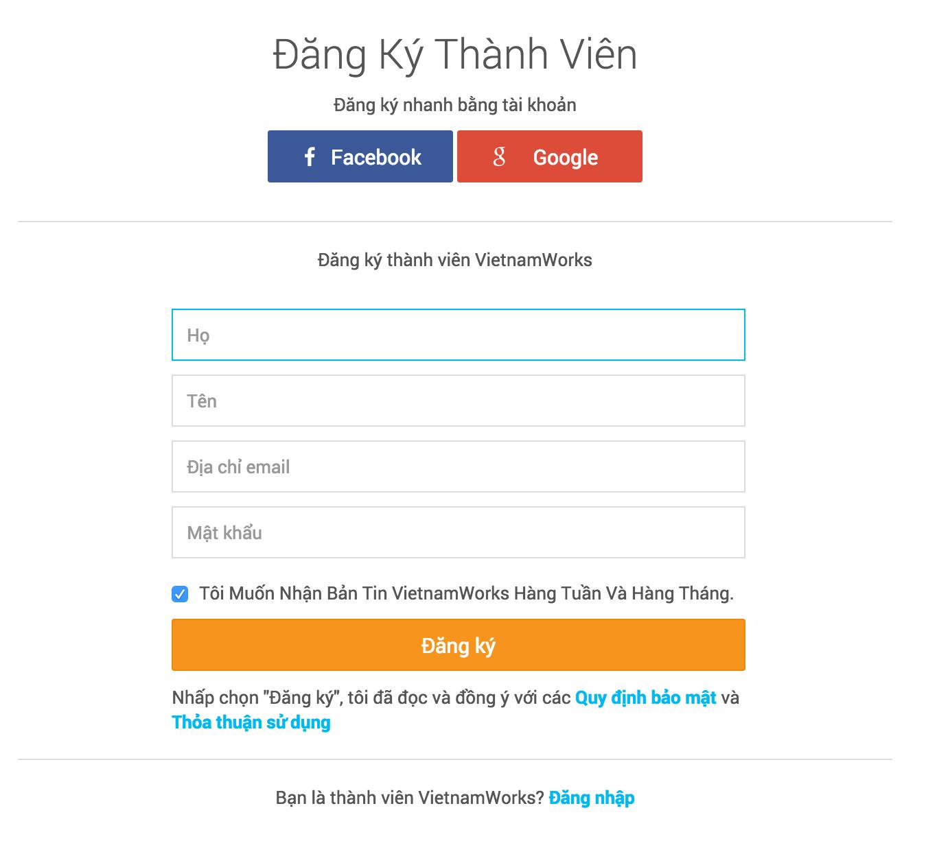 Đăng ký tài khoản VietnamWorks